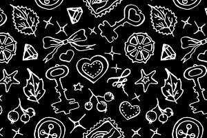 Monochrome doodle seamless pattern