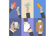 Set of business hands action concept