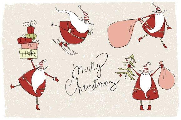 Santa Claus Christmas Cards Illustrations Creative Market