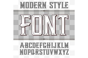 Vector label font, modern style. Whiskey