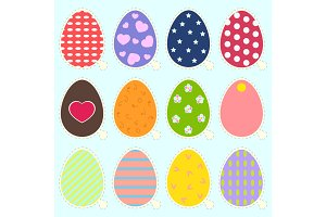 Easter eggs stickers icons in trendy flat style.