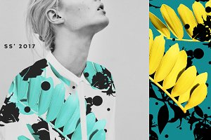 Seamless floral patterns with leaves