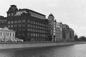 Moscow, Russia: View of Yakimanskaya nab. | 35mm b&w film scan
