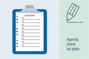 Agenda check list plate