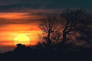 Sunset at Nature Landscape Scene