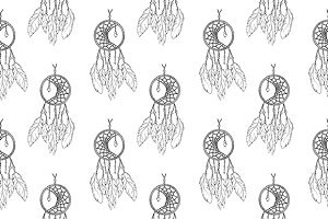 Dreamcatcher seamless pattern vector