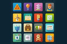 Electricity and light. Vector icons