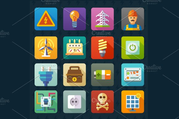 Electricity and light. Vector icons - Icons
