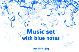 Music set with blue notes