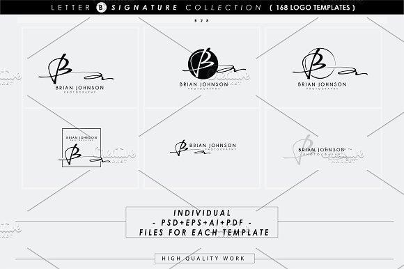 168 letter b signature monogram logo logo templates creative market