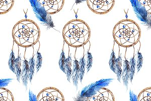 Ethnic dreamcatcher seamless pattern