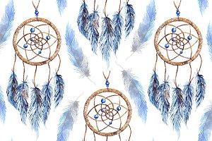 Ethnic dreamcatcher seamless pattern