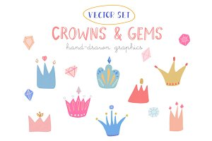 Vector hand drawn crowns and gems