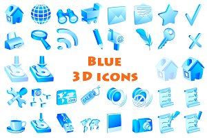 Above 40 blue 3d icons set