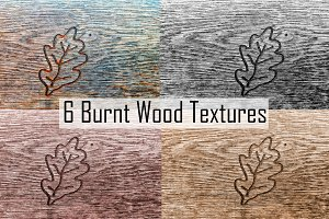 Burnt Wood Textures with Oak Leaf