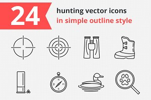 24 hunting vector icons