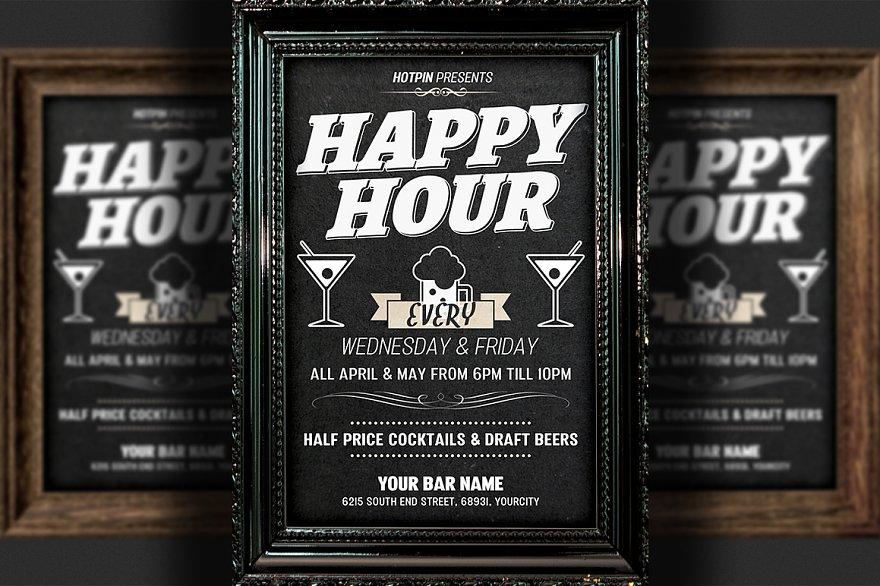 Happy Hour Flyers Flyer Templates Creative Market Pro