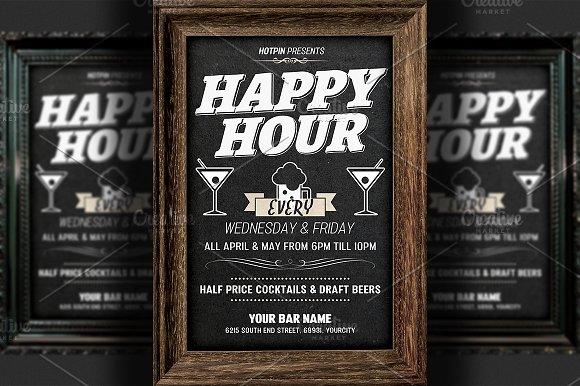 Happy Hour Flyer Template ~ Flyer Templates ~ Creative Market