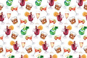 Watercolor cocktail seamless pattern
