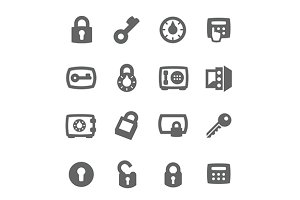 Keys and locks icons