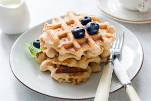 Belgian waffles with blueberry