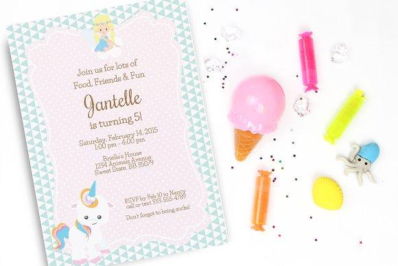 Unicorn Birthday Party Invitation Templates Creative Market