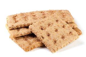 three grain crispbreads isolated on white background