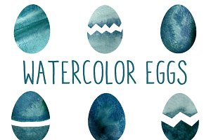Blue Watercolor Eggs