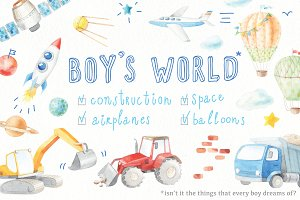 watercolor BOY'S WORLD