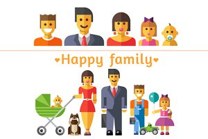 Happy family. People characters