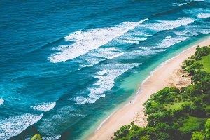 Aerial view of Nunggalan Beach near Uluwatu, Bali, Indonesia