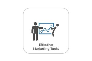 Effective Marketing Tools Icon.  Flat Design.