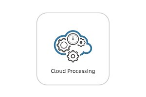 Cloud Processing Icon. Flat Design.