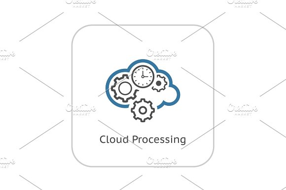 Cloud Processing Icon Flat Design