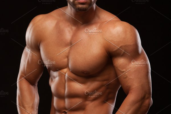 Strong Athletic Man Fitness Model Torso Showing Six Pack