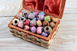 Sewing Box Filled With Thread