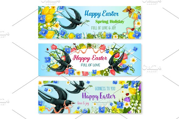 Easter Holiday Banner With Spring Flower And Bird