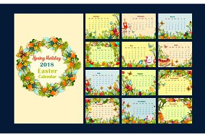 Monthly calendar template with Easter symbols