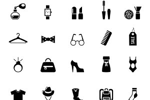Black Clothing and Accessory Icons