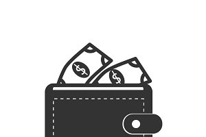 wallet, icon, vector illustration