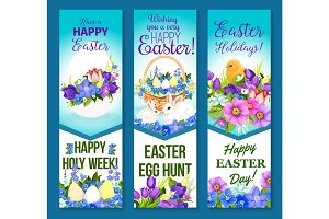 Vector Easter banners pashcal eggs and flowers