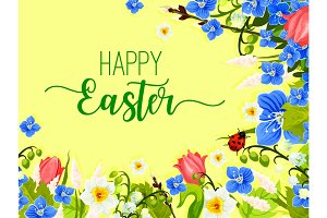 Easter spring flowers wreath vector greeting card