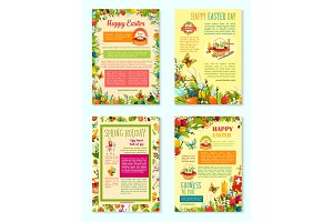 Easter Day, Spring Holidays poster template set