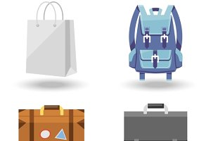 four baggage vector illustrations