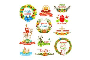 Easter icon set with cartoon holiday symbols