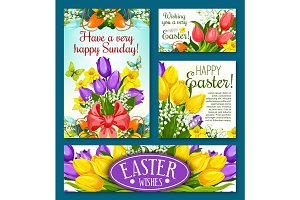 Easter holidays banner template set with flowers
