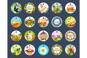 Easter tag set with cartoon round label
