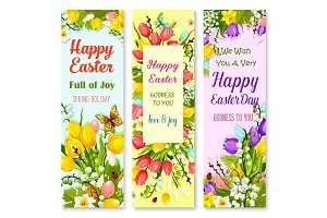 Easter spring flowers and eggs greeting banner set