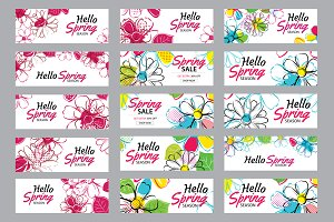 Hello spring sale banner template
