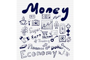 Mega collection of money finance, business and money concepts, hand drawn doodles